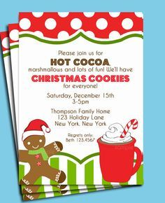 Hot Cocoa and Christmas Cookie Party Invitation Hot Chocolate Party, Cocoa Party, Kids Christmas, Christmas Cookies, Christmas Crafts, Christmas Labels, Christmas Birthday, Christmas Printables, Christmas 2019