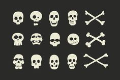 Buy Skulls and Crossbones Halloween Pack by ghostlypixels on GraphicRiver. This set of 12 Skulls and 3 Crossbones Arrives just in time for your halloween project! Each skull/crossbone was hand. Skull Logo, Skull Art, Halloween Vector, Vintage Halloween, Jolly Roger, Skull Design, Skull And Crossbones, Halloween Projects, Skull And Bones