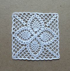 One miniature crochet square doily 4.3 cm 1:12 by MiniGio on Etsy