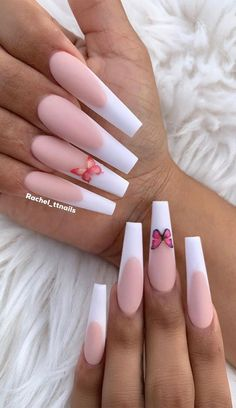 Acrylic Nails Coffin Pink, French Tip Acrylic Nails, Long Square Acrylic Nails, Coffin Nails Long, Long French Tip Nails, White French Nails, Ombre French, White Nails, Drip Nails