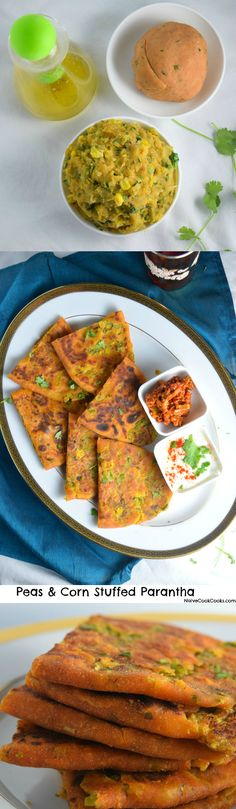 Peas and Corn Stuffed Parantha (Filling of potatoes, green peas and corn filled inside whole wheat flour to make delicious and healthy Indian style flatbreads. Super easy & you can make a bunch ahead to have them on hand anytime craving hits!) NaiveCookCooks.com