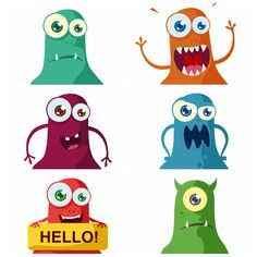A set of six cute flat monsters in different colors.