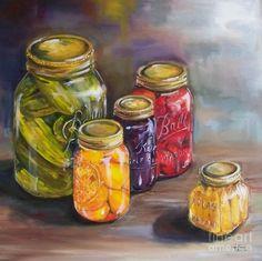 Canning Jars Painting  - Canning Jars Fine Art Print