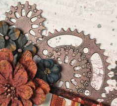 Faux Metal Gears Tutorial by Tracey Sabella for Donna Salazar; Spellbinders Sprightly Sprockets