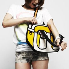 With its cartoon-like outlines and vibrant colors, this bag looks straight out of a comic book—but don't be fooled. You haven't walked into an issue of Archie—you're just looking at one remarkable designer bag. Although slim in appearance, each JumpFromPaper bag has a roomy interior to accommodate a tablet, notebook, your everyday accessories and even a laptop. A zipper bottom expands the bag for extra room. $71 at Fab.