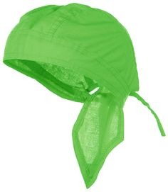 Green Hi Visibility Bright Lime Solid Headwrap Doo Rag Durag Skull Cap Cotton Sporty Motorcycle Hat