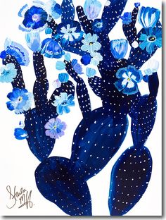"""New cacti paintings by Starla Michelle Halfmann now available. This one is titled """"Indigo Cacti"""""""