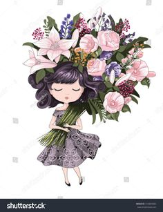 Find Cute Girl Flowerschildren Illustration School Books stock images in HD and millions of other royalty-free stock photos, illustrations and vectors in the Shutterstock collection. Thousands of new, high-quality pictures added every day. Cute Girl Illustration, Illustration Mignonne, Illustration Blume, Graphic Illustration, Illustrator, Art Mignon, Happy Birthday Flower, Cute Cartoon Girl, Girls With Flowers