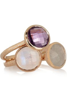 #bijou #mariage #Monica Vinader | Set of three Mini Luna 18-karat gold-vermeil stacking rings | NET-A-PORTER.COM