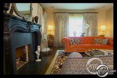 Tori Spelling McDermott's Living Room~Love the Orange Chesterfield!