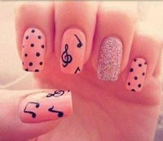 I would do the pink polka-dots on four nails and the sparkle nail accent on one