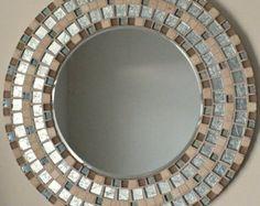 Mosaico hecho a mano bonito espejo biselado borde plata Azulejo mosaico de vidrio