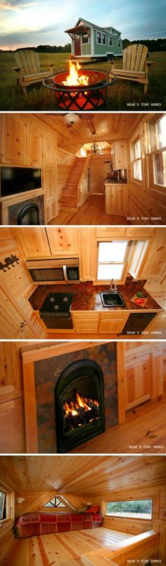 The Highland: a two-bedroom tiny house with a fireplace!