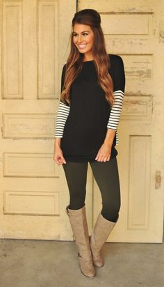 Dottie Couture Boutique - Black Tunic- Striped Sleeves, $36.00 (http://www.dottiecouture.com/black-tunic-striped-sleeves/) l this is so cute!! AND it looks like it's NOT a sweater, it's cotton, which is so much better here on the Texas Gulf Coast!! We have very few sweater days!!