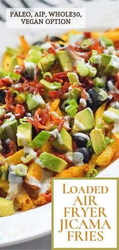 These yummy shoestring jicama fries are coated with olive oil and a simple seasoning mixture. They're then topped with bacon, avocados, AIP ranch dressing, green onions, and black olives. Although, you can top them with whatever you want or eat them plain!#aip #paleo #whole30 #vegan #glutenfree #dairyfree #loadedfries #paleofries #jicamarecipe #airfryerfries #airfryerjicamafries #jicama Paleo Appetizers, Appetizer Recipes, What Is Jicama, Jicama Recipe, Jicama Fries, Paleo Recipes, Easy Recipes, Vegan Options, Quick Easy Meals