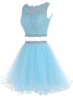 6a12c71507 Amazon.com  HTYS Beaded Two Pieces Prom Dresses Applique Short Homecoming  Dresses HY115