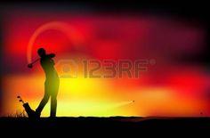 Ilustraci�n de un hombre jugando golf photo