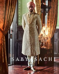 2944d9fe1651 Indian Wedding Groom s Outfit by Sabyasachi  Brilliant Indian Groom  embroidered Sherwani over churidar in creams