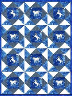 Unicorn Lightning Blue Pre-cut Quilt Blocks Kit from Quilt Kit Shop