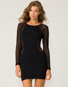Motel Goldie Black bodycon cut-out dress with edgy geometric sheer mesh  sleeves and slimming e87cea49299a
