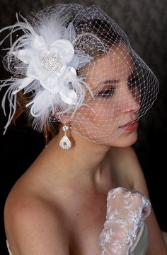 Fabulous BIRDCAGE VEIL. Wedding HAIR flower. Wedding headpiece. Bridal Hair Flower comb with feathers and crystals.