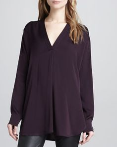 Vince Loose Stretch-Silk Blouse, Mulberry