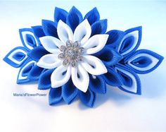 Handmade kanzashi flower french barrette. The handmade Kanzashi flower made of grosgrain ribbon is apprx.10x5 cm.(4 x 2) ,with a glass pearl