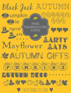 10 Free Thanksgiving Fonts ~  Thanksgiving fonts can make any holiday project extra special!  Create place cards, invitations and a million kinds of creative decorations just in time for Thanksgiving. Oh, and what about using them for some cute little thank you cards or part of a hostess gift? Seriously....  Download Links @: http://www.everythingetsy.com/2013/10/10-thanksgiving-fonts-free/?utm_source=feedburner&utm_medium=email&utm_campaign=Feed%3A+Everythingetsycom+%28EverythingEtsy.com%29