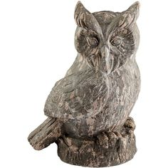 """Cyan Design Owl 17"""" High Washed Ebony Statue ($133) ❤ liked on Polyvore featuring home, home decor, brown, sculpture, black statues, black sculpture, owl sculpture, black home decor and traditional home decor"""