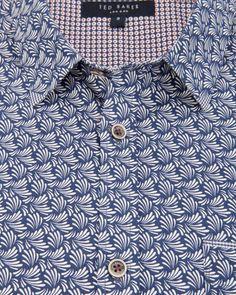 Short sleeve plant print shirt - Blue | Shirts | Ted Baker