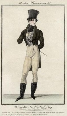 Men's outfit with horizontally-striped waistcoat, 1821.