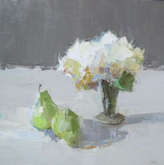 Barbara Flowers, 'Small Bouquet and Fruit', Oil on Canvas, 24x24 - Anne Irwin Fine Art