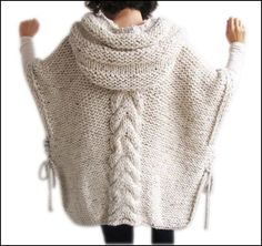 Tweed beige hand knitted hooded poncho This poncho is hand knit with cable knitting pattern. It is made with alpaca yarn. It has a hood. You can wear it on you. Crochet Poncho, Hand Crochet, Knit Cardigan, Hand Knitting, Cable Knitting, Loose Sweater, Knitting Needles, Sweater Jacket, Crochet Top