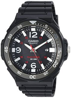 Men's Wrist Watches - Casio Mens Solar Powered Quartz Resin Automatic Watch ColorBlack Model MRWS310H1BV * You can find more details by visiting the image link.