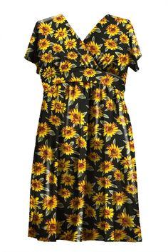 2564af5b6e45 Beautiful Printed Fit and Flare Midi Dress Color- Sunflower  sunflower   print  midi