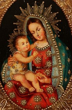 Escuela Cuzqueña. #Mary #love #Queenofangels