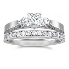 1 CaratPrincess cutDiamondThree Stone Diamond Bridal Set On14K WhiteGold