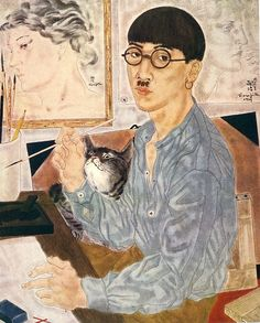 Japanese painter Tsuguharu Foujita, who mainly worked in France, Art And Illustration, Illustrations Posters, Portrait Art, Portraits, Art Japonais, Japan Art, Japanese Artists, Artist At Work, Cat Art