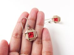 Origami jewelry Red and beige paper origami rose by Paperica