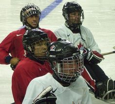 Another pix I took from the #teamcanada #evaluationcamp at the #calgarysaddledome in 2009. This is the #canadiannationalsledgehockeyteam listening to their coach for instructions on the next practice drill. #hockeycanada #canadiansledgehockeyteam #sledgehockey #hockey #debbieelicksen #canadianhockey #mylockerroomlife #myhockeylife
