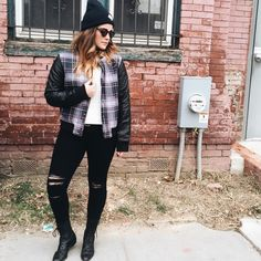 Great quilted plaid jacket w/faux leather sleeves !!TRENDING! Bomber jacket in Retro plaid! Great jacket! .. Beautiful warm  quilting inside..S & M also available C-43 W-38 L-242️⃣7️⃣ Moon Collection Jackets & Coats Utility Jackets