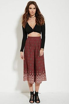 Abstract Floral Wide-Leg Pants | Forever 21 - 2000185402