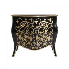 #Kommode Pomp #Mahagoni teilmassiv schwarz / gold im #barockstil kaufen bei Mobego