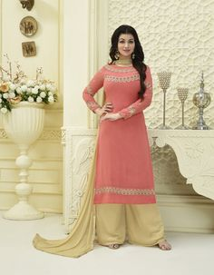 Magento Georgettte Palazzo embroidered party wear designer salwar kameez material, Kameez front sleeve and york crafted with thread embroidery along with lase patch border. Kameez with Satoon bottom crafted with lase patch and Nazeen dupatta with lase patch.