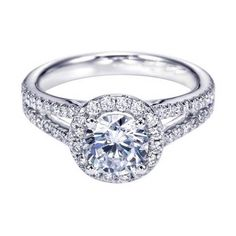 925 Sterling silver split shank halo Solitaire Engagement Ring  CZ EW EHS