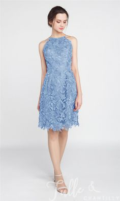 Short Lace Bridesmaid Dress with Open Back TBQP393 click for 40+ colors