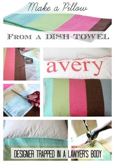 Learn how to make your own DIY throw pillow covers from dish towels {www.designertrapped.com}