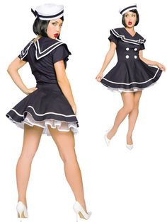 Hello Sailor Femmes Robe Fantaisie Bleu Marine Uniforme militaire Femme Adultes Costume nouveau
