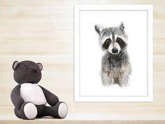 New to TinyToesDesign on Etsy: Baby Animal Print Raccoon Nursery Art Raccoon Watercolor Animal Portrait Woodland Nursery Art Animal Art Wildlife Print 11x14 (15.00 USD) #nurseryart #tombowpro