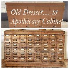 Old Dresser To Apothecary Cabinet DIY Apothecary Cabinet/ Old Card Catalog Diy Home Furniture, Do It Yourself Furniture, Repurposed Furniture, Furniture Projects, Furniture Makeover, Refurbished Cabinets, Diy Cabinets, Apothecary Cabinet, Paint Cards